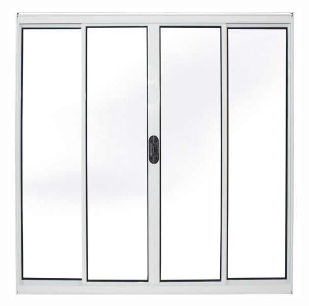 Janela de Alumínio Branco Vitro de Correr 4 Folhas Sem Grade CMC Modular - 1,00(L) X 1,00(A)