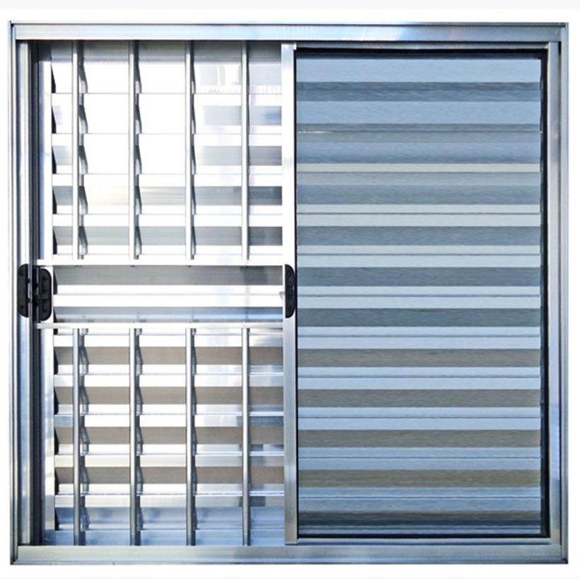 Janela-de-Aluminio-Brilhante-Veneziana-de-Correr-3-Folhas-Com-Grade-CMC-Modular