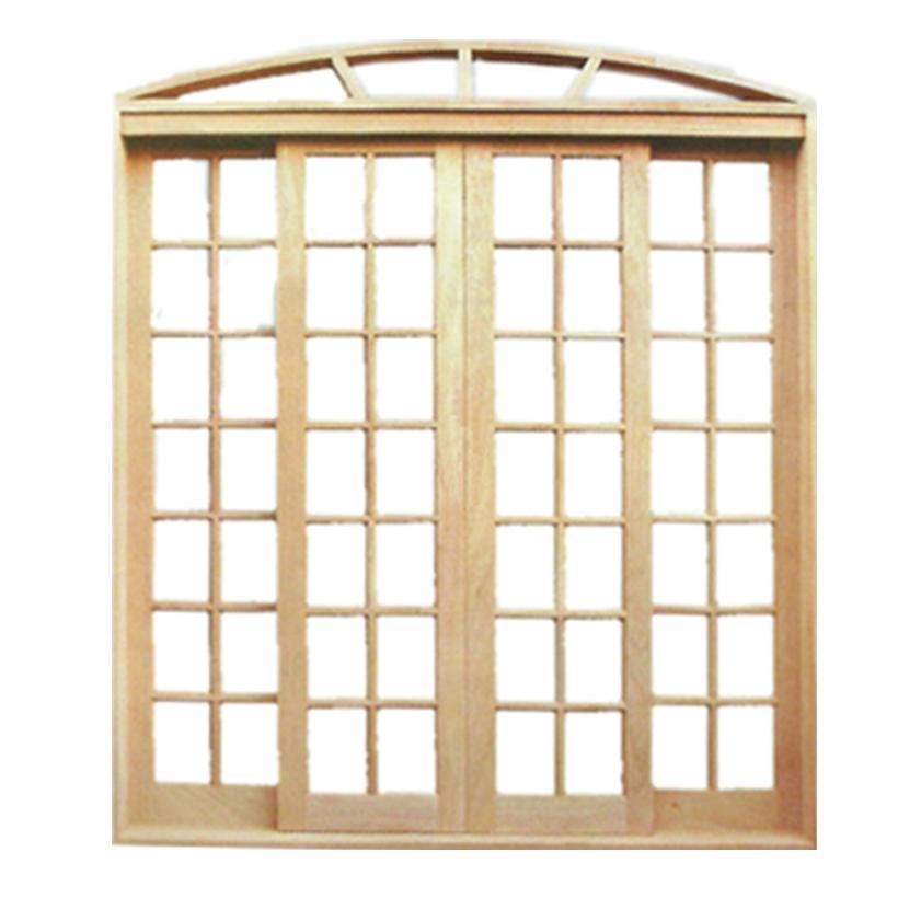 Porta Balcão de Correr de Madeira Cedro Arana Quadriculada em Arco Es - 0