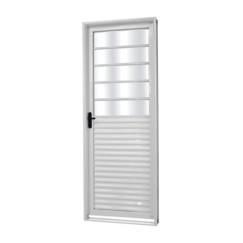 Porta de Aço Vidro Fixo Monza Branca MGM - 2.17 (A) X 0.85 (L)