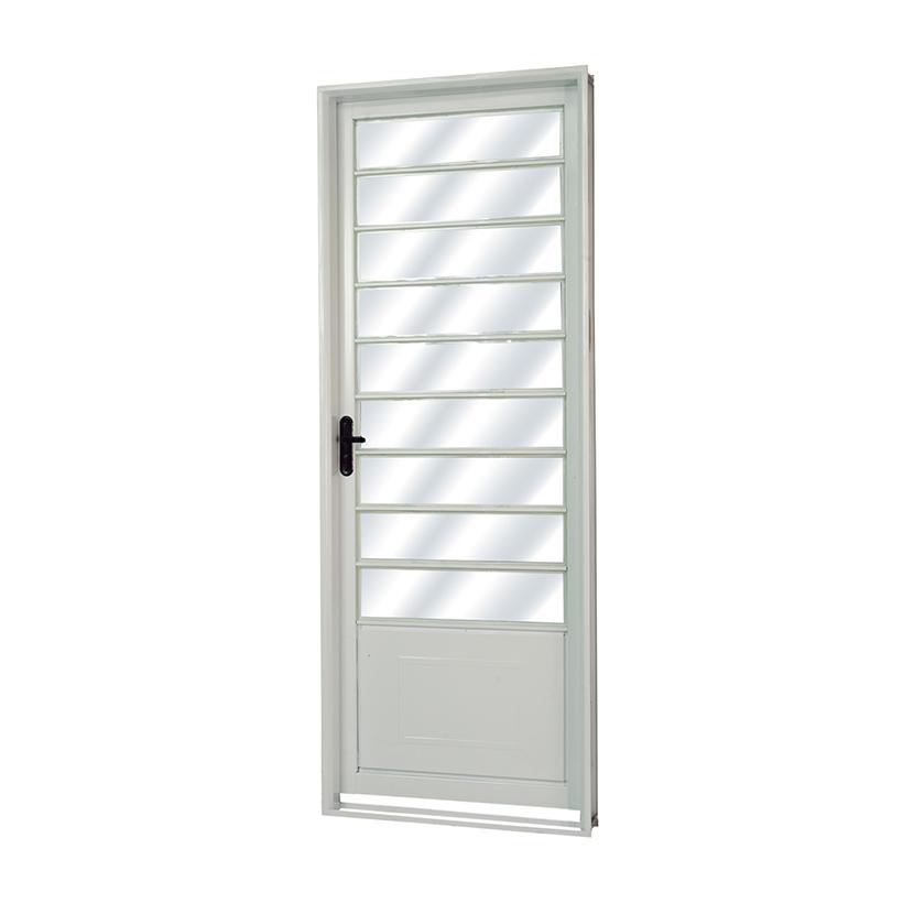 Porta de Aço Vidro Fixo Veneza Branca MGM - 2.17 (A) X 0.85 (L)