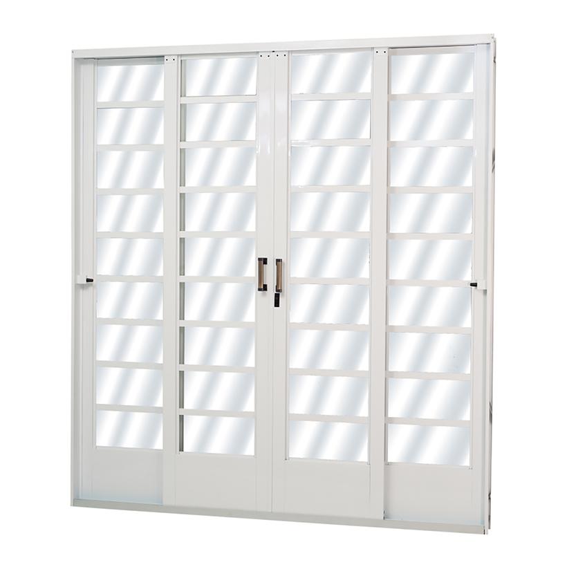 Porta de Correr de Aço Carrara Horizontal 4 Folhas Branca MGM - ...