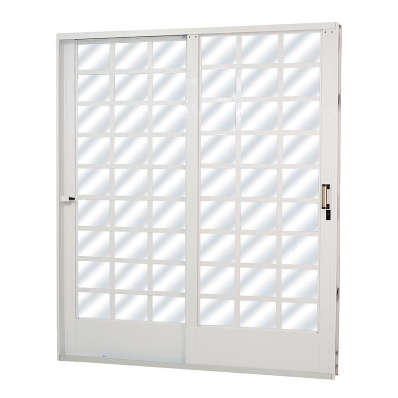 Porta de Correr de Aço Carrara Quadriculada 2 Folhas Branca MGM ...