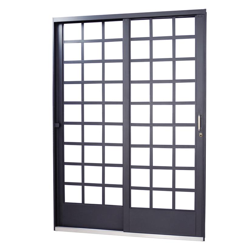 Porta de Correr de Aço Carrara Quadriculada 2 Folhas Primer MGM ...
