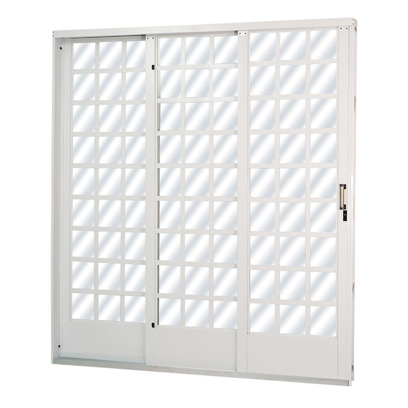 Porta de Correr de Aço Carrara Quadriculada 3 Folhas Branca MGM