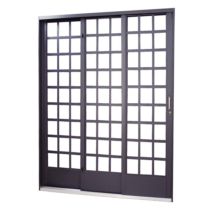 Porta de Correr de Aço Carrara Quadriculada 3 Folhas Primer MGM