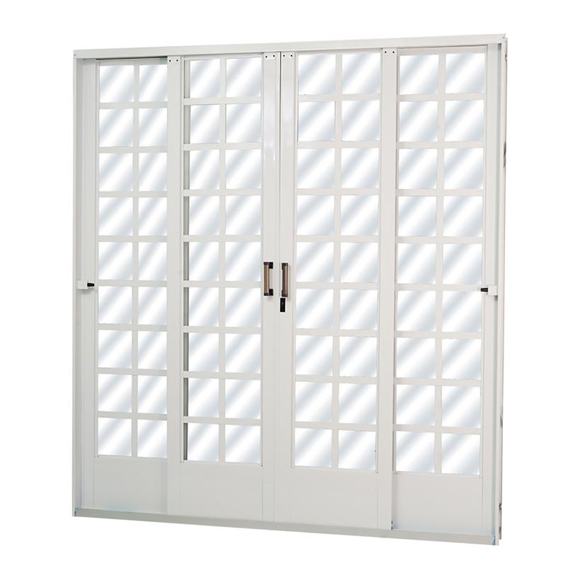 Porta de Correr de Aço Carrara Quadriculada 4 Folhas Branca MGM ...