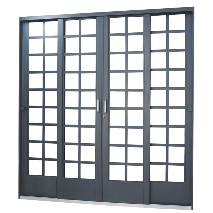 Porta de Correr de Aço Carrara Quadriculada 4 Folhas Primer MGM ...
