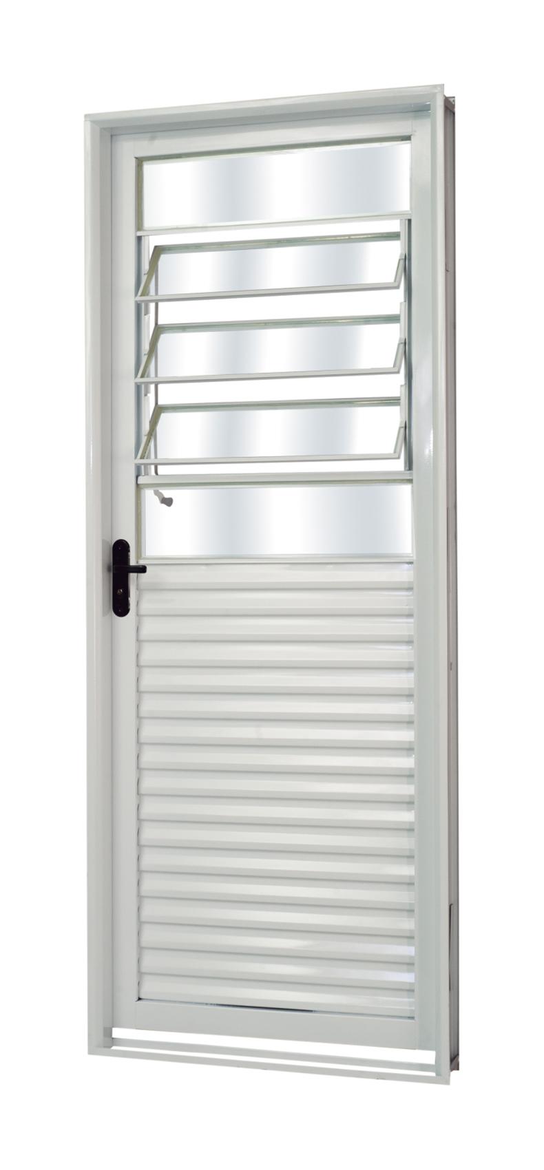 Porta de Aço Vidro Basculante Genova Branca MGM