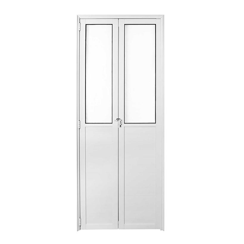 Porta Lambril de Alumínio Branco Camarão Com Vidro CMC Classic