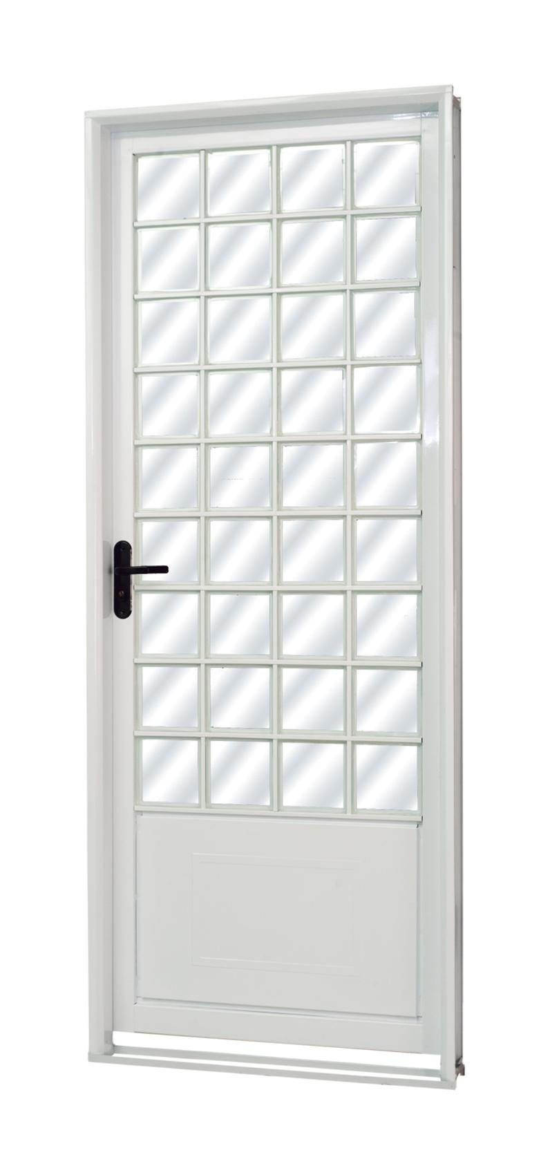 Porta de Aço Quadriculada Parma Branca MGM