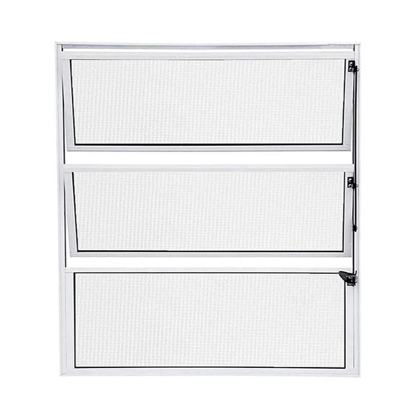 Janela de Alumínio Branco Vitro Basculante Atlântica Fortline - 0.60 (L) X 0.60 (A)