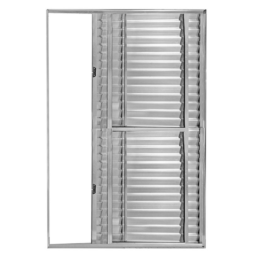 Porta Balcão de Correr com Veneziana de Alumínio Brilhante 3 Folhas Atlântica Fortline - 2.10 (A) X 1.20 (L)