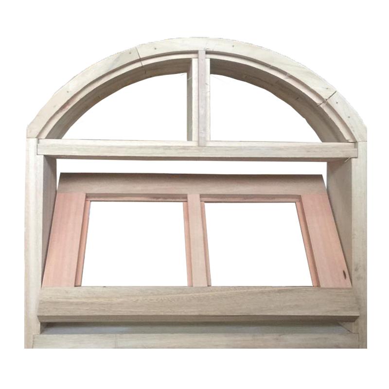 Janela de Madeira Vitro Basculante em Arco Padrão Cedro Esquadrias Lo - 1