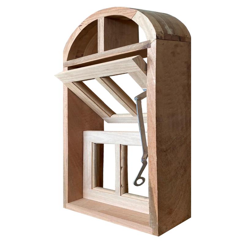 Janela de Madeira Vitro Capelinha Basculante em Arco Padrão Cedro Esq - 2