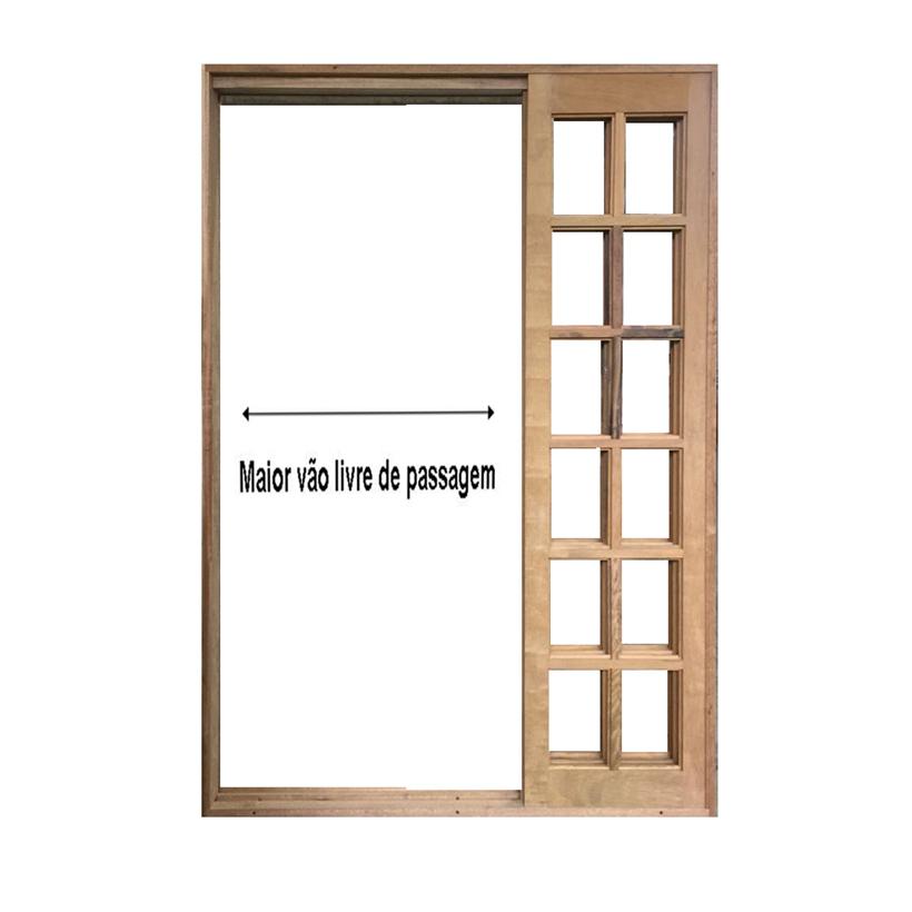 Porta Balcão de Correr de Madeira Itaúba Quadriculada Purgato Esquad - 0