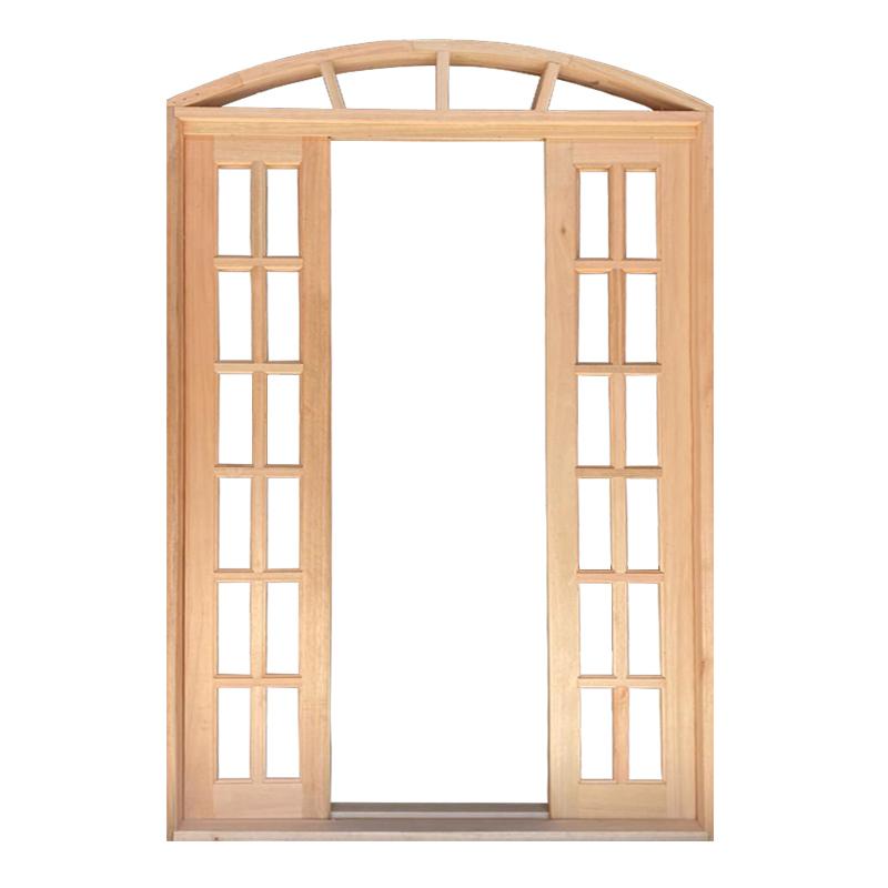 Porta Balcão de Correr de Madeira Padrão Cedro Quadriculada em Arco - 0