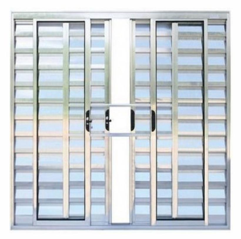 Janela-de-Aluminio-Brilhante-Veneziana-de-Correr-6-Folhas-Com-Grade-CMC-Modular